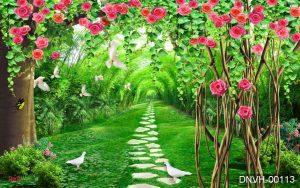 tranh 3d vườn hoa